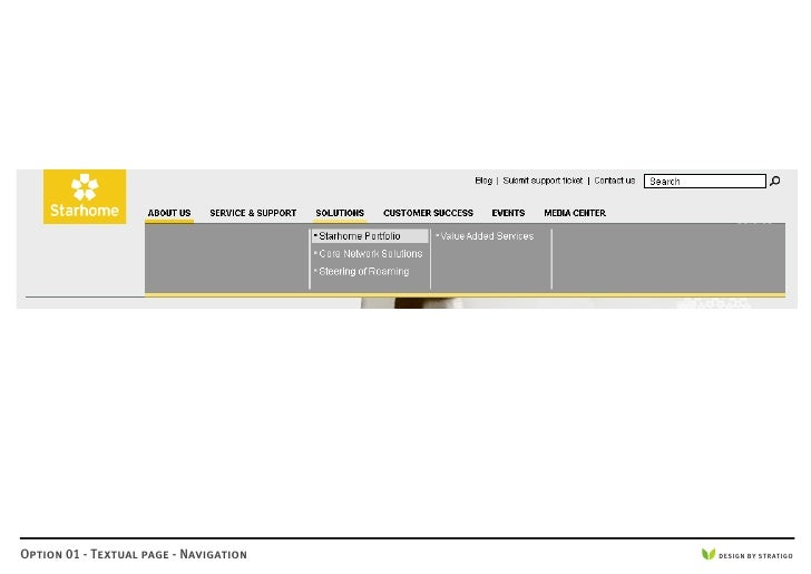 Option 01 - Textual page - Navigation   DESIGN BY STRATIGO