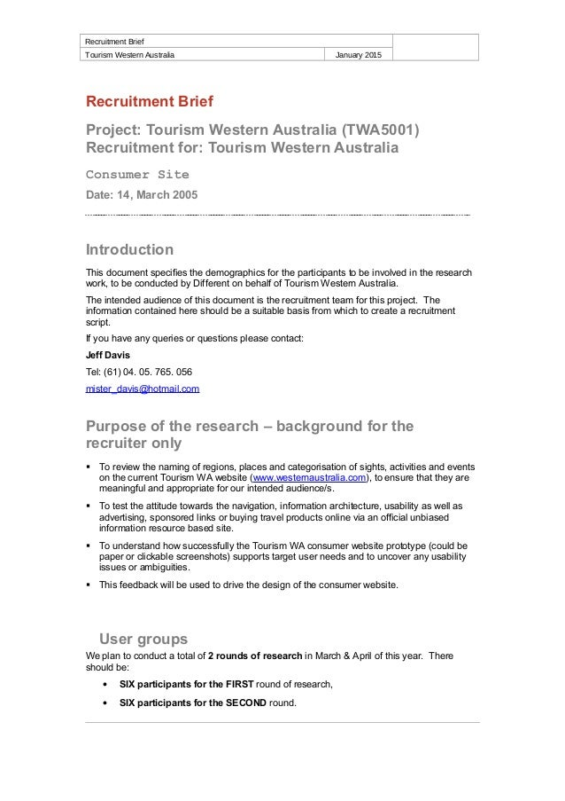 Recruitment Brief Tourism Western Australia January 2015 Recruitment Brief Project: Tourism Western Australia (TWA5001) Re...