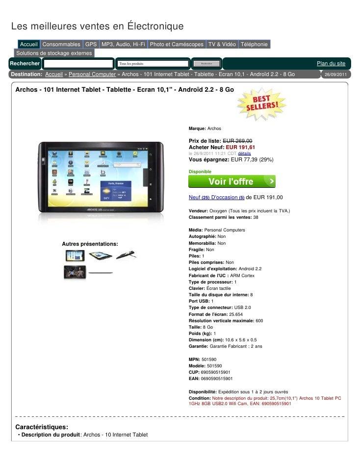 Les meilleures ventes en Électronique   Accueil Consommables GPS MP3, Audio, Hi-Fi Photo et Caméscopes TV & Vidéo Téléphon...