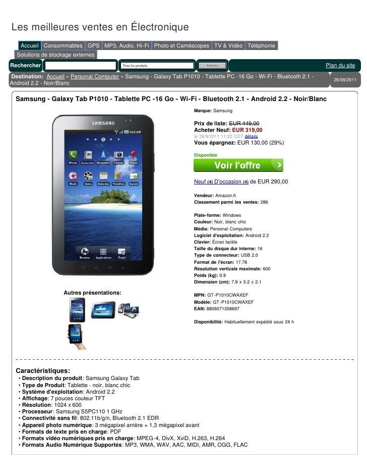 samsung galaxy tab p1010 tablette pc 16 go wi fi bluetooth 2. Black Bedroom Furniture Sets. Home Design Ideas