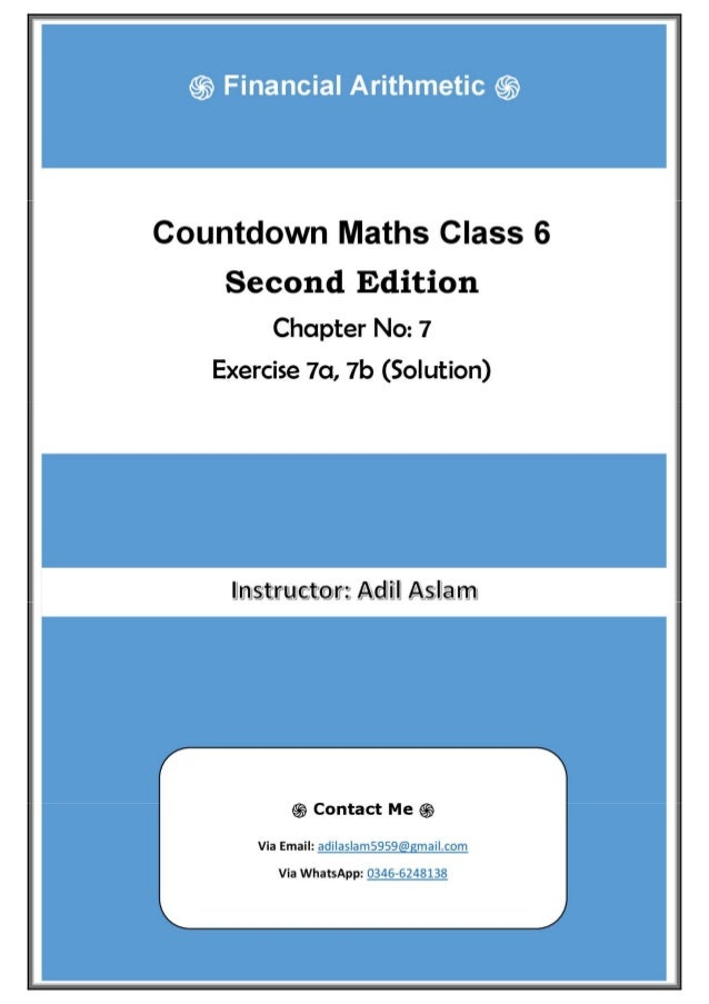 Countdown Mathematics Class 6th Second Edition Chapter 7