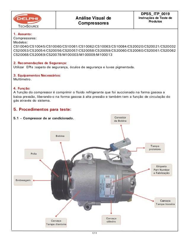 TECHSOURCE DPSS_ ITP_0019 Instruções de Teste de Produtos Análise Visual de Compressores 1/11 1. Assunto: Compressores: Mo...