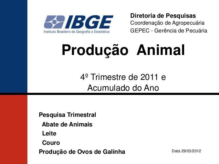 Diretoria de Pesquisas                              Coordenação de Agropecuária                              GEPEC - Gerên...