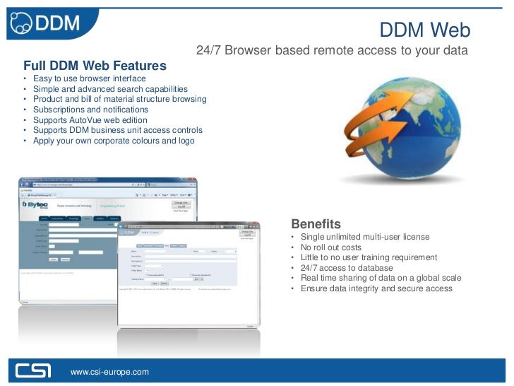 DDM Web                                                24/7 Browser based remote access to your dataFull DDM Web Features•...