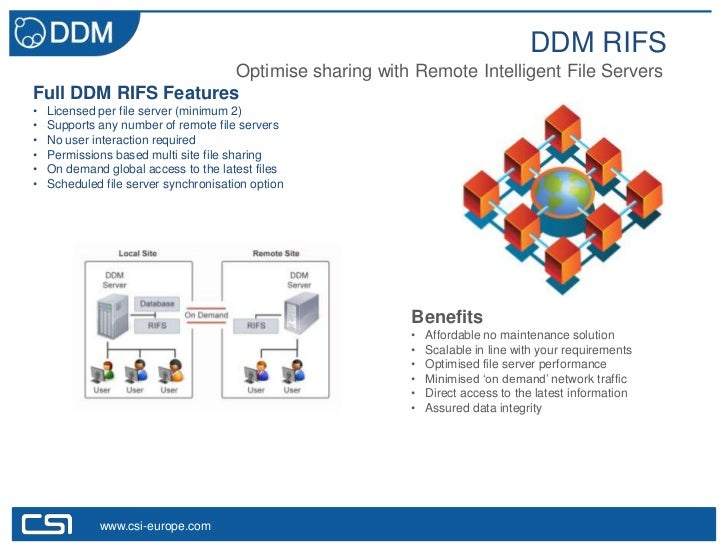 DDM RIFS                      Optimise sharing with Remote Intelligent File ServersFull DDM RIFS Features•   Licensed per ...
