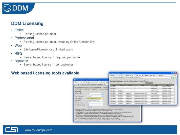 DDM Licensing• Office      • Floating license per user• Professional      • Floating license per user, including Office fu...