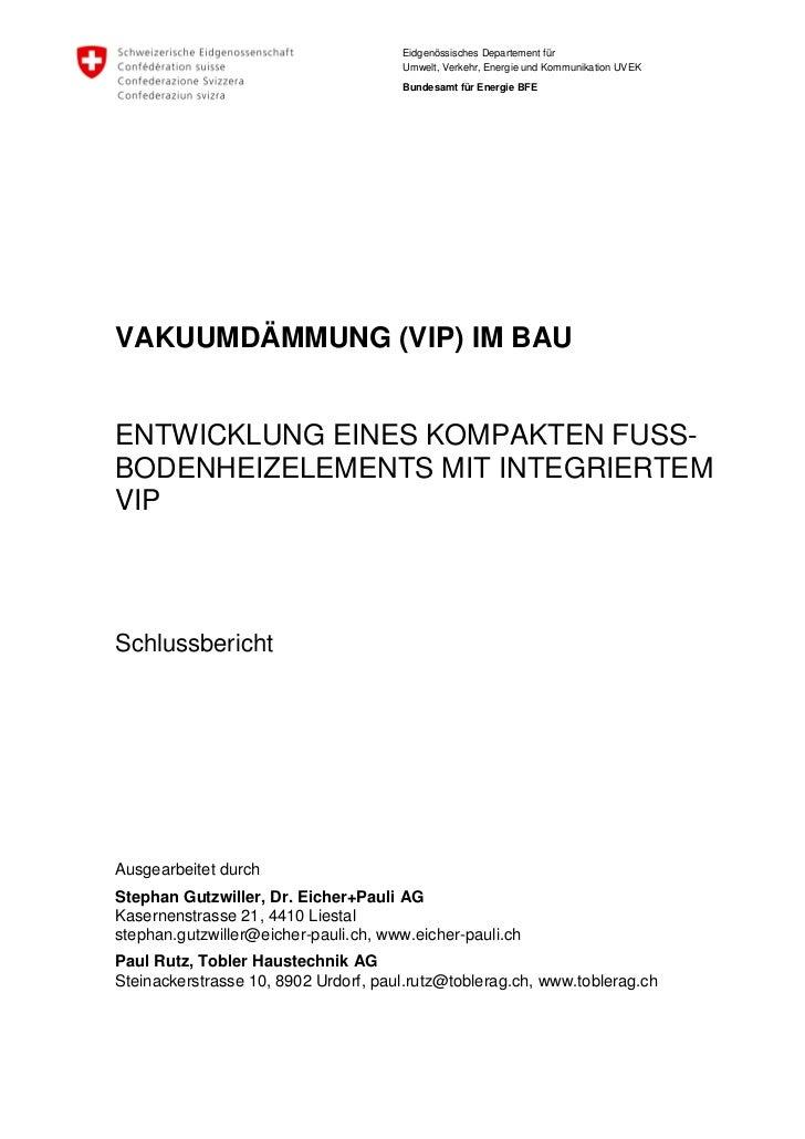 Eidgenössisches Departement für                                      Umwelt, Verkehr, Energie und Kommunikation UVEK      ...