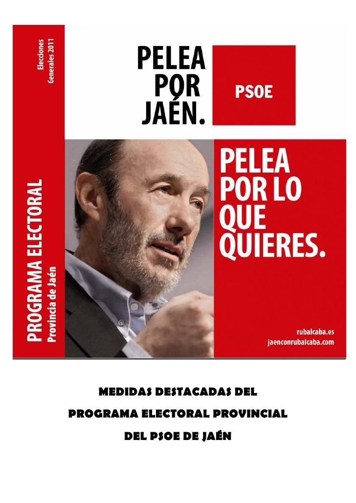 MEDIDAS DESTACADAS DELPROGRAMA ELECTORAL PROVINCIAL       DEL PSOE DE JAÉN