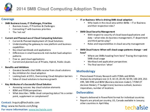 2014 SMB Cloud Computing Adoption Trends Contact: Inquiry@techaisle.com Blog: www.techaisle.com/blog For more information:...