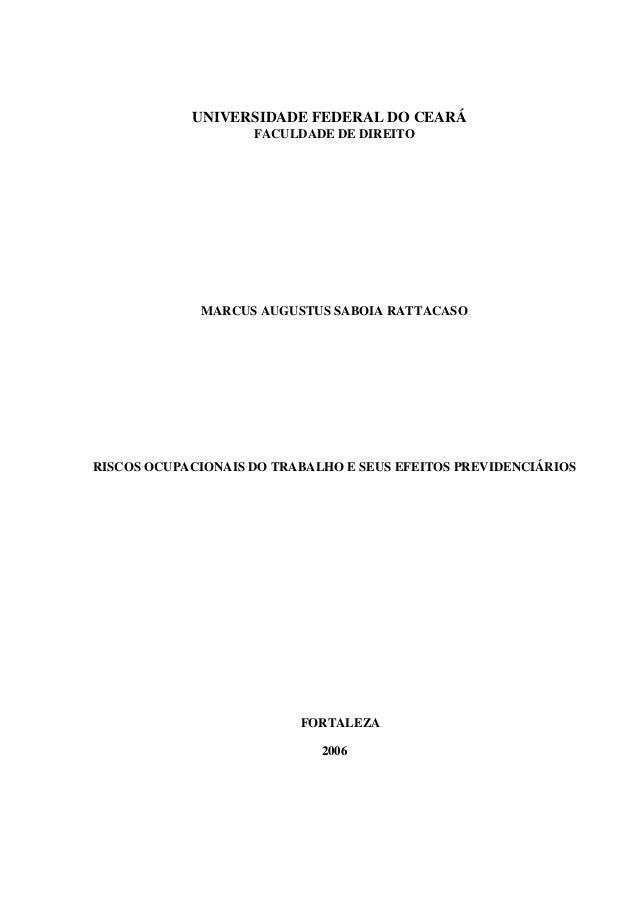 UNIVERSIDADE FEDERAL DO CEARÁ FACULDADE DE DIREITO  MARCUS AUGUSTUS SABOIA RATTACASO  RISCOS OCUPACIONAIS DO TRABALHO E SE...