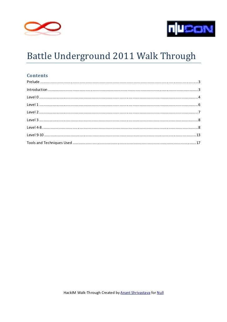 Battle Underground NullCon 2011 Walkthrough Slide 2
