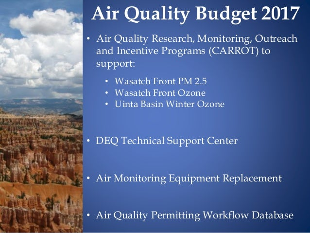 • Air Quality Research, Monitoring, Outreach and Incentive Programs (CARROT) to support: • Wasatch Front PM 2.5 • Wasatch ...