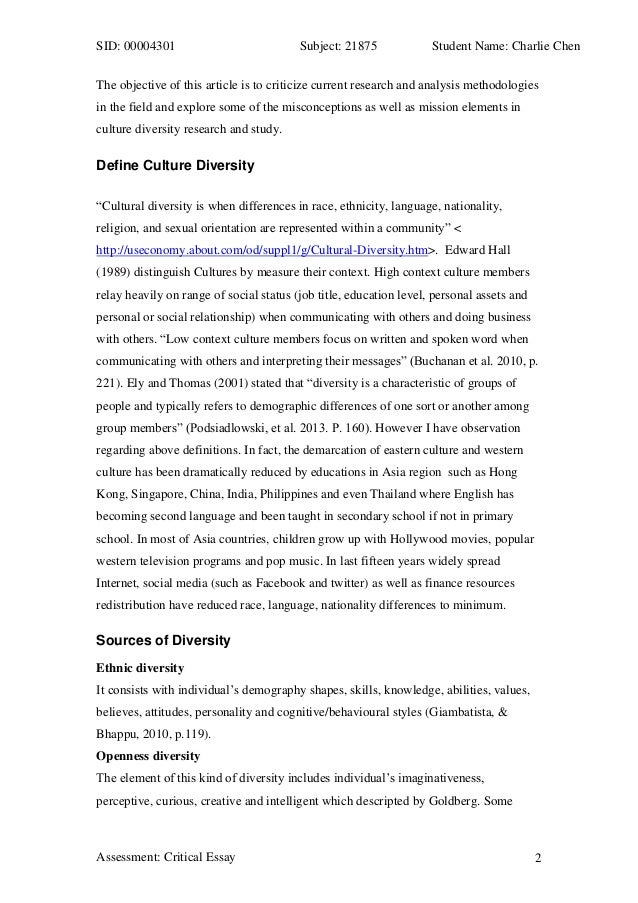 Diversity in society essay