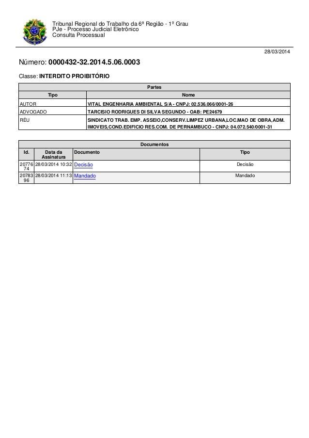 28/03/2014 Número: 0000432-32.2014.5.06.0003 Classe: INTERDITO PROIBITÓRIO Tribunal Regional do Trabalho da 6ª Região - 1º...