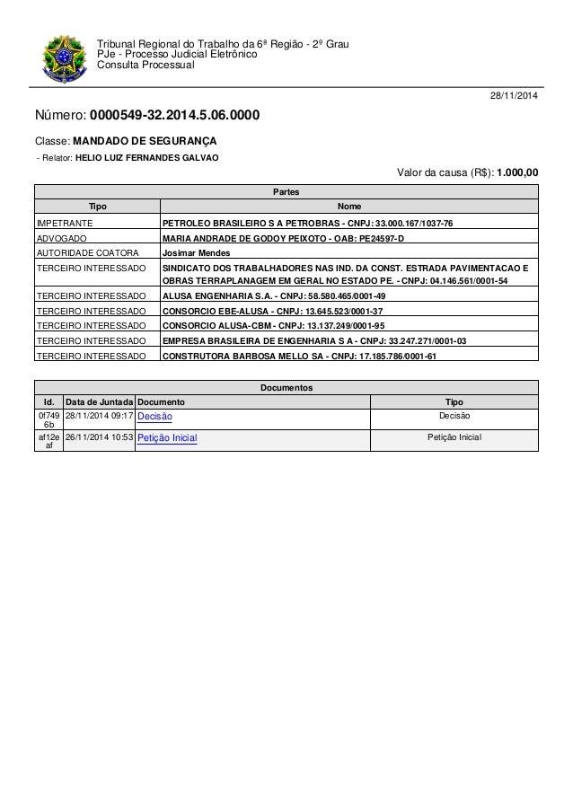 28/11/2014  Número: 0000549-32.2014.5.06.0000  Classe: MANDADO DE SEGURANÇA  - Relator: HELIO LUIZ FERNANDES GALVAO  Valor...