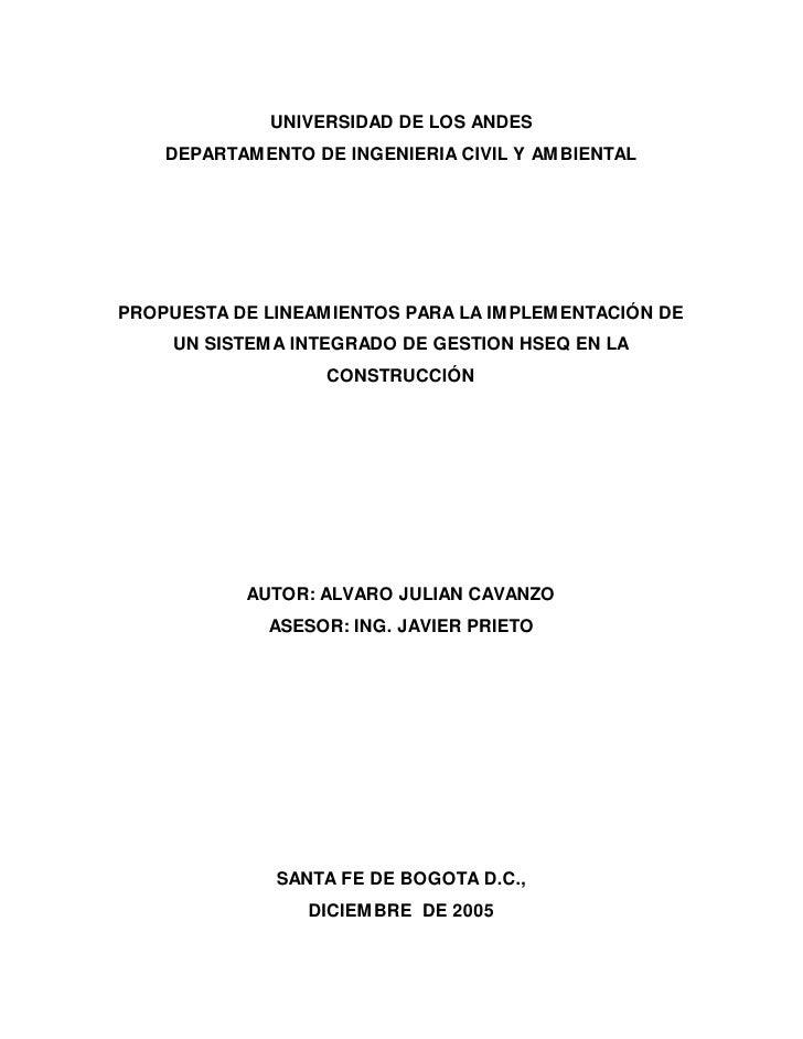 UNIVERSIDAD DE LOS ANDES    DEPARTAMENTO DE INGENIERIA CIVIL Y AMBIENTALPROPUESTA DE LINEAMIENTOS PARA LA IMPLEMENTACIÓN D...