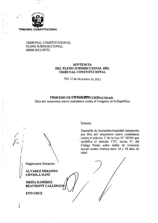 "TRIBUNAL csnrucronm.   TRIBUNAL CONSTITUCIONAL  PLENO JURISDICCIONAL 00008-20 l Z-Plfl"" C  SENTENCIA  DEL PLENO JURISDICCI..."