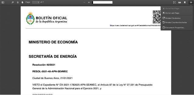 https://www.boletinoficial.gob.ar/#!DetalleNorma/240009/20210122 MINISTERIO DE ECONOMÍA SECRETARÍA DE ENERGÍA Resolución 4...