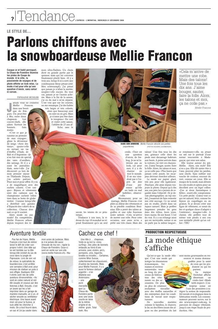 ?     Tendance                                                       L'EXPRESS - L'IMPARTIAL / MERCREDI 31 DÉCEMBRE 2008  ...