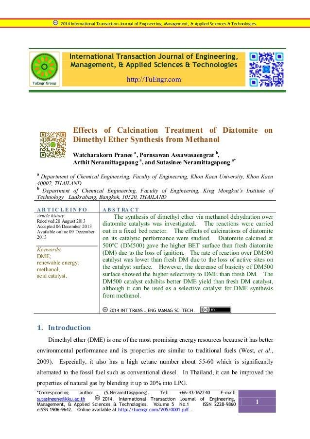 2014 International Transaction Journal of Engineering, Management, & Applied Sciences & Technologies.  International Trans...