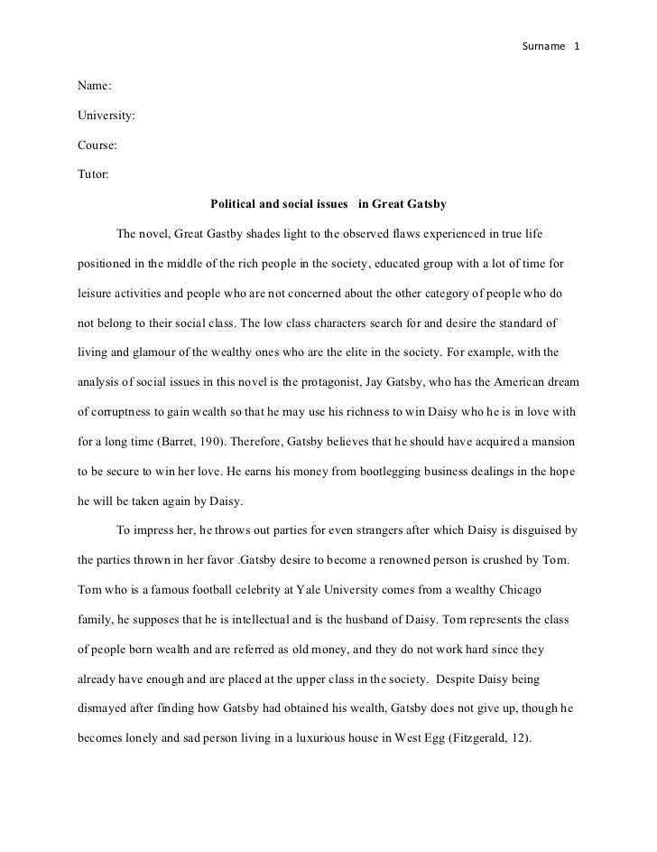 Literary Analysis of Great Gastby