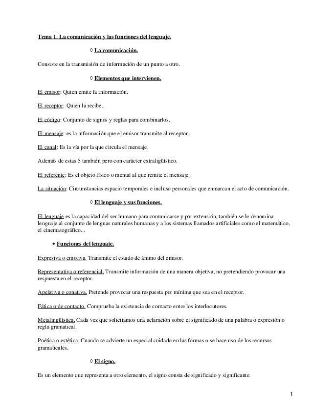 Tema 1. La comunicación y las funciones del lenguaje.                       ◊ La comunicación.Consiste en la transmisión d...