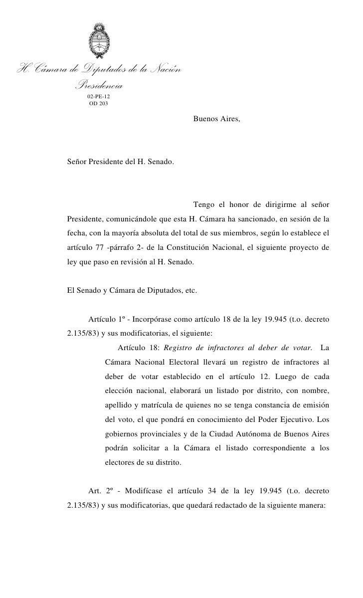 H. Cámara de Diputados de la Nación           Presidencia                02-PE-12                 OD 203                  ...