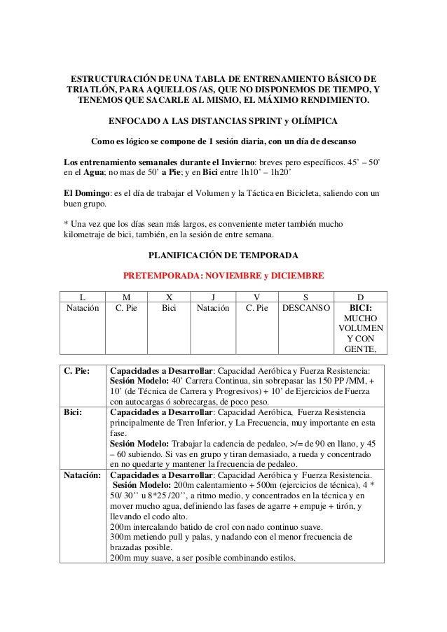 ESTRUCTURACIÓN DE UNA TABLA DE ENTRENAMIENTO BÁSICO DETRIATLÓN, PARA AQUELLOS /AS, QUE NO DISPONEMOS DE TIEMPO, Y  TENEMOS...