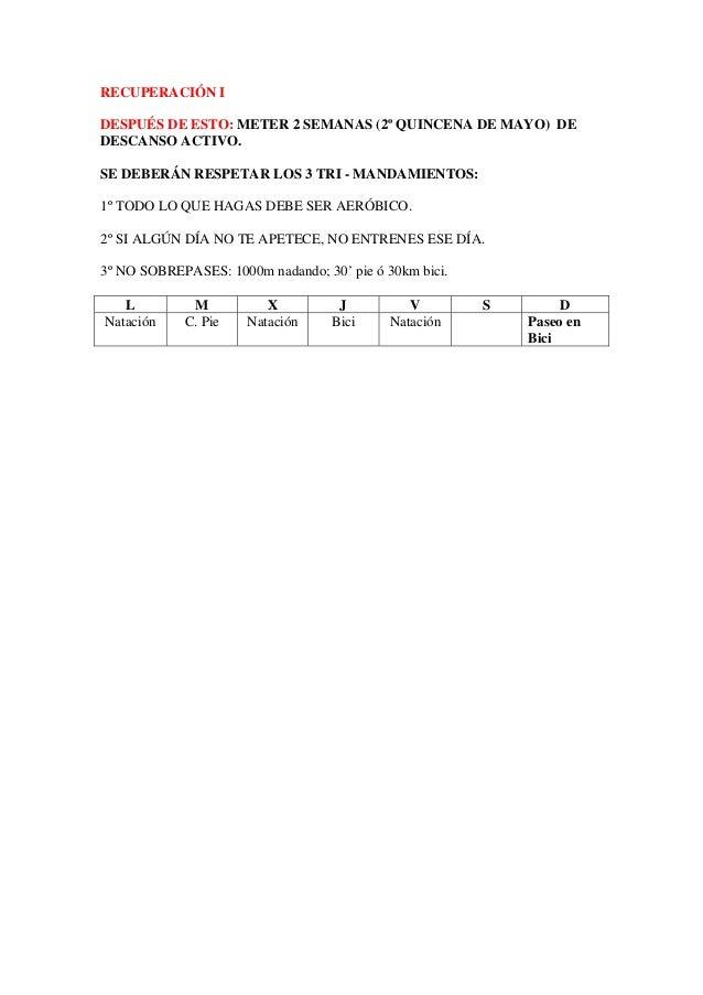 RECUPERACIÓN IDESPUÉS DE ESTO: METER 2 SEMANAS (2º QUINCENA DE MAYO) DEDESCANSO ACTIVO.SE DEBERÁN RESPETAR LOS 3 TRI - MAN...
