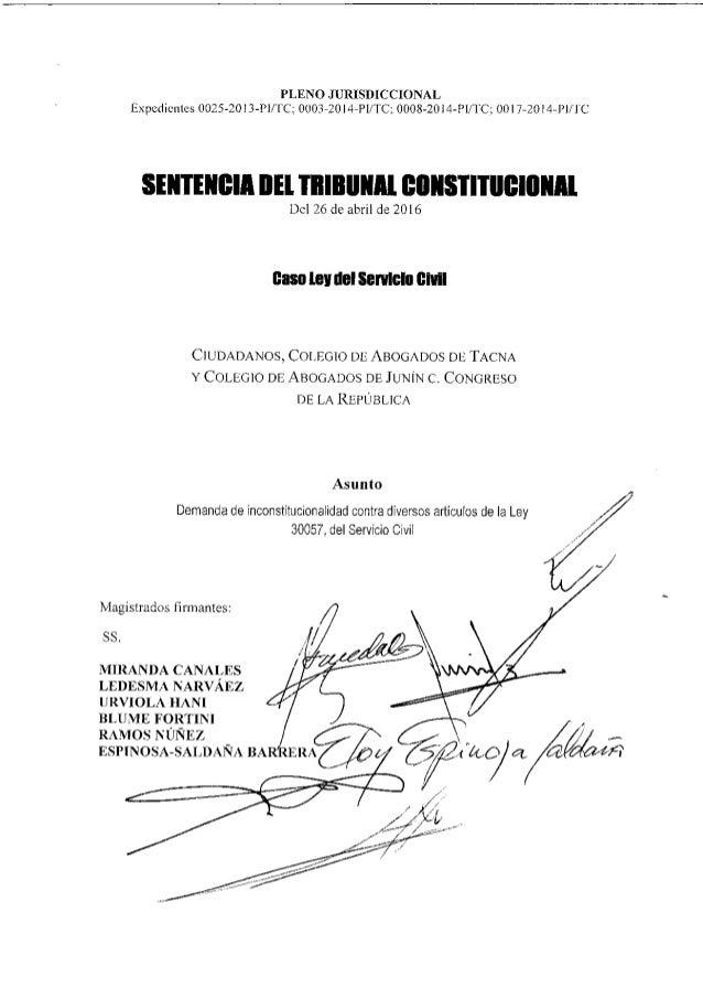 Demanda de inconstitucionalidad contra diversos artículos de la Ley 30057, del Servicio Civil Magistrados firmantes: SS. M...