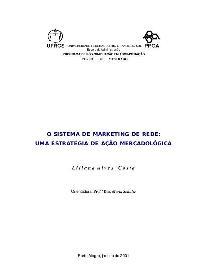 UNIVERSIDADE FEDERAL DO RIO GRANDE DO SUL Escola de Administração PROGRAMA DE PÓS-GRADUAÇÃO EM ADMINISTRAÇÃO CURSO DE MEST...