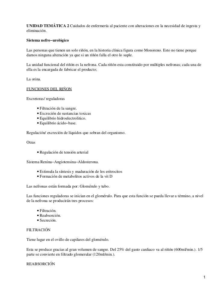 UNIDAD TEMÁTICA 2 Cuidados de enfermería al paciente con alteraciones en la necesidad de ingesta yeliminación.Sistema nefr...