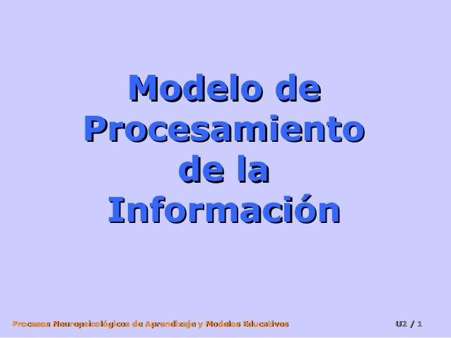 Modelo de Procesamiento de la Información  Procesos Neuropsicológicos de Aprendizaje y Modelos Educativos  U2 / 1