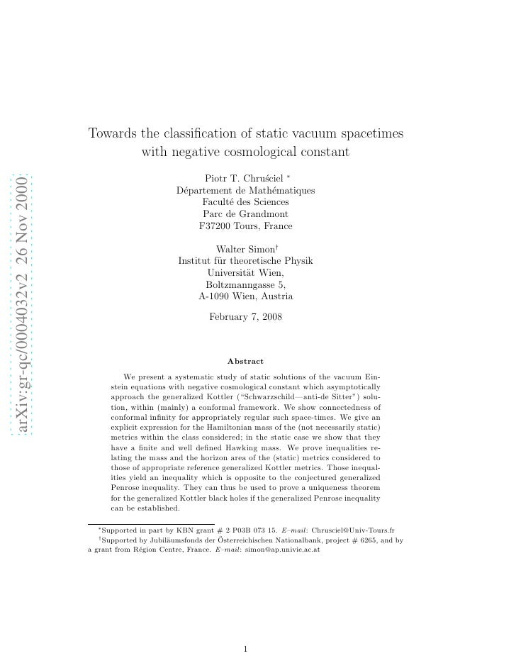 Towards the classification of static vacuum spacetimes                                             with negative cosmologic...