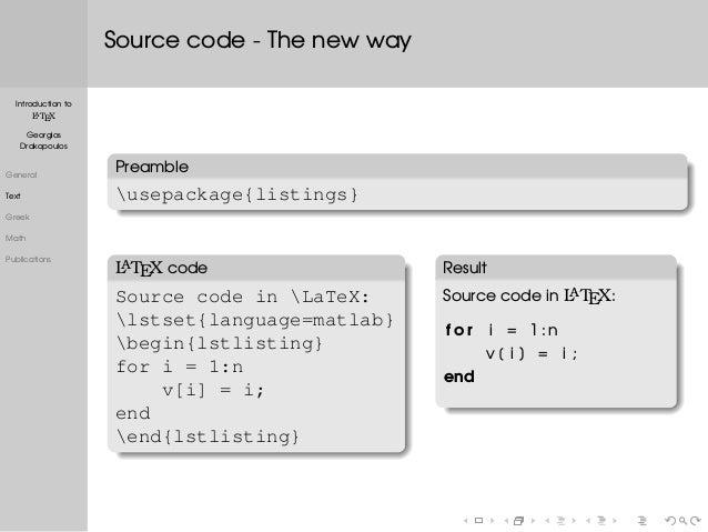 latex source code listing like