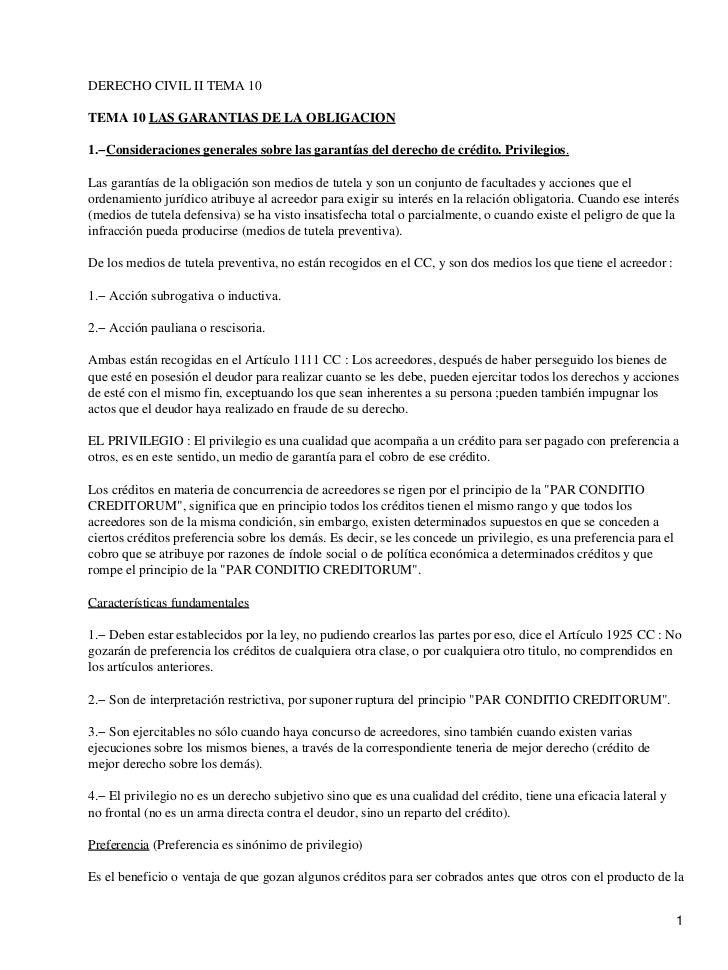 DERECHO CIVIL II TEMA 10TEMA 10 LAS GARANTIAS DE LA OBLIGACION1.−Consideraciones generales sobre las garantías del derecho...
