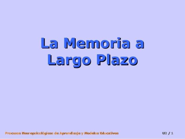 La Memoria a Largo Plazo  Procesos Neuropsicológicos de Aprendizaje y Modelos Educativos  U2 / 1