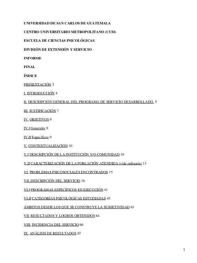 UNIVERSIDAD DE SAN CARLOS DE GUATEMALA CENTRO UNIVERSITARIO METROPOLITANO (CUM) ESCUELA DE CIENCIAS PSICOLÓGICAS DIVISIÓN ...