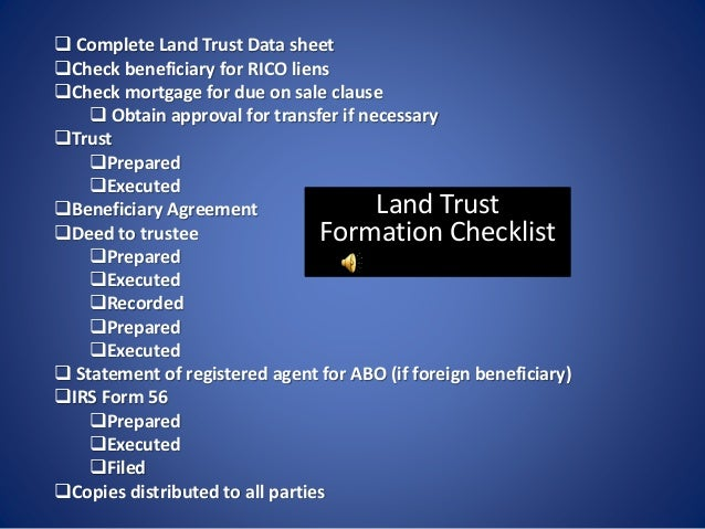 Questions Florida Land Trust Checklist