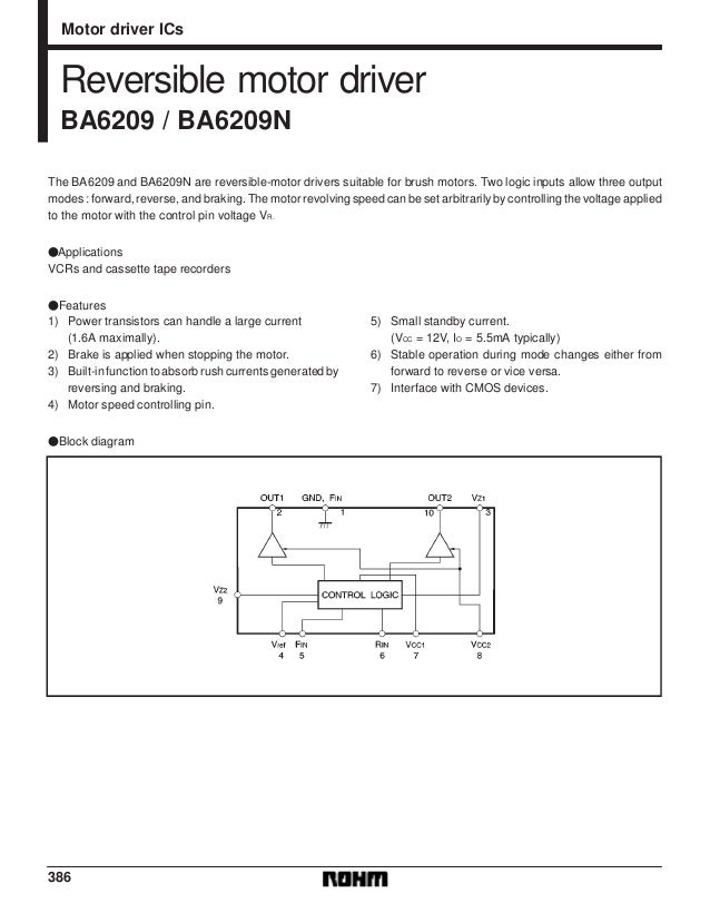386 Motor driver ICs Reversible motor driver BA6209 / BA6209N The BA6209 and BA6209N are reversible-motor drivers suitable...