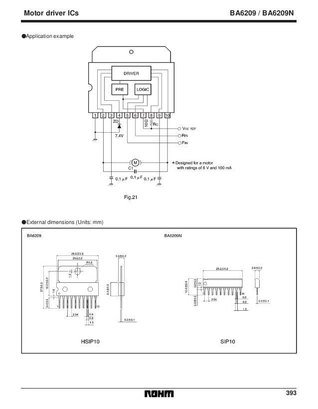 393 Motor driver ICs BA6209 / BA6209N FApplication example FExternal dimensions (Units: mm)