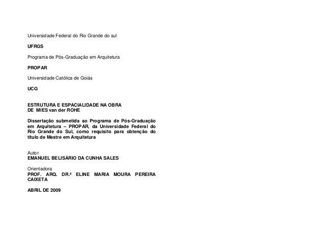 Universidade Federal do Rio Grande do sul UFRGS Programa de Pós-Graduação em Arquitetura PROPAR Universidade Católica de G...