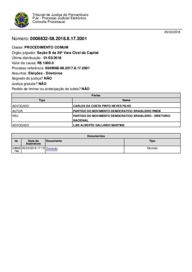 05/03/2018 N�mero: 0008832-58.2018.8.17.2001 Classe: PROCEDIMENTO COMUM �rg�o julgador: Se��o B da 26� Vara C�vel da Capit...