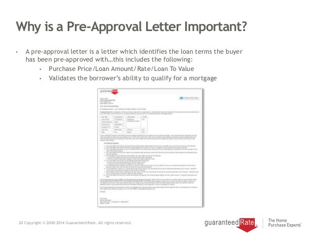 20 why is a pre approval letter