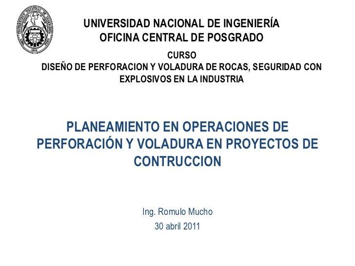 UNIVERSIDAD NACIONAL DE INGENIERÍA           OFICINA CENTRAL DE POSGRADO                          CURSODISEÑO DE PERFORACI...