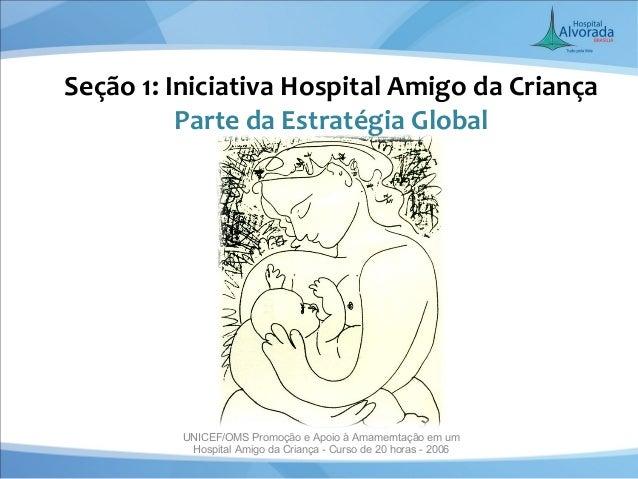 Seção 1: Iniciativa Hospital Amigo da Criança          Parte da Estratégia Global         UNICEF/OMS Promoção e Apoio à Am...