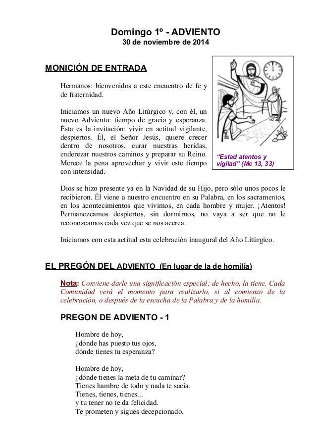 GUIÓN DEL DOMINGO 1º DE ADVIENTO CON LOS SIMBÓLICOS APROPIADOS. CICLO B. DIA 30 DE NOVIEMBRE DEL 2014