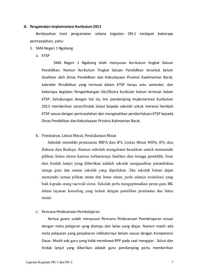 Contoh Laporan Pendampingan Implementasi Kurikulum 2013 Sma Kumpulan Contoh Laporan