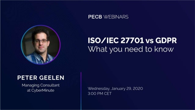 • Introduction • The GDPR view of the ISO/IEC 27701 • Mapping the GDPR to-do and the ISO27701 to-do list. • The ISO/IEC 27...
