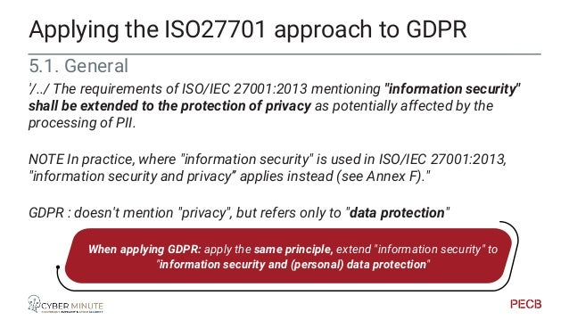 PIMS/GDPR implementation Source: PECB ISO27701 Lead Auditor